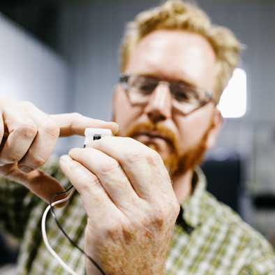 Man working on electronics