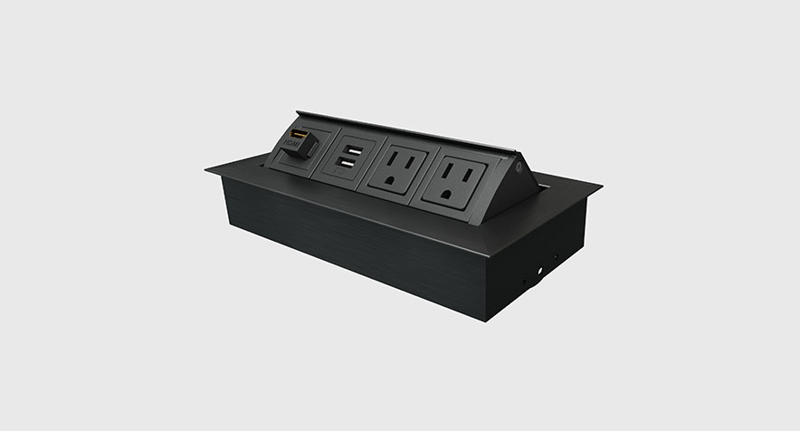 Retractable Power Cord >> Pop-up Power and Data Desk Grommet   Mho® - Byrne