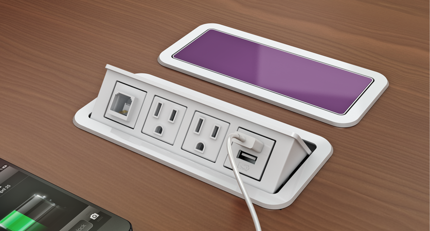 Customizable Power And Data Grommet Desk Outlets Nacre 174